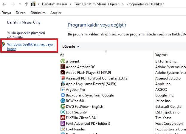 Internet Explorer Kaldırma Windows 10