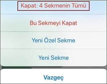 iphone sekme kapatma