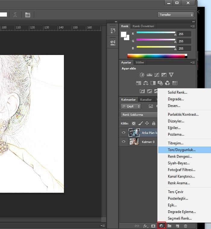 photoshop actions tek tıkla fotoğrafı çizime dönüştürme