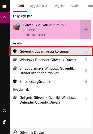 windows 10 guvenlik duvarinda programlara izin verme 1 Windows 10 Güvenlik Duvarında Programlara İzin Verme