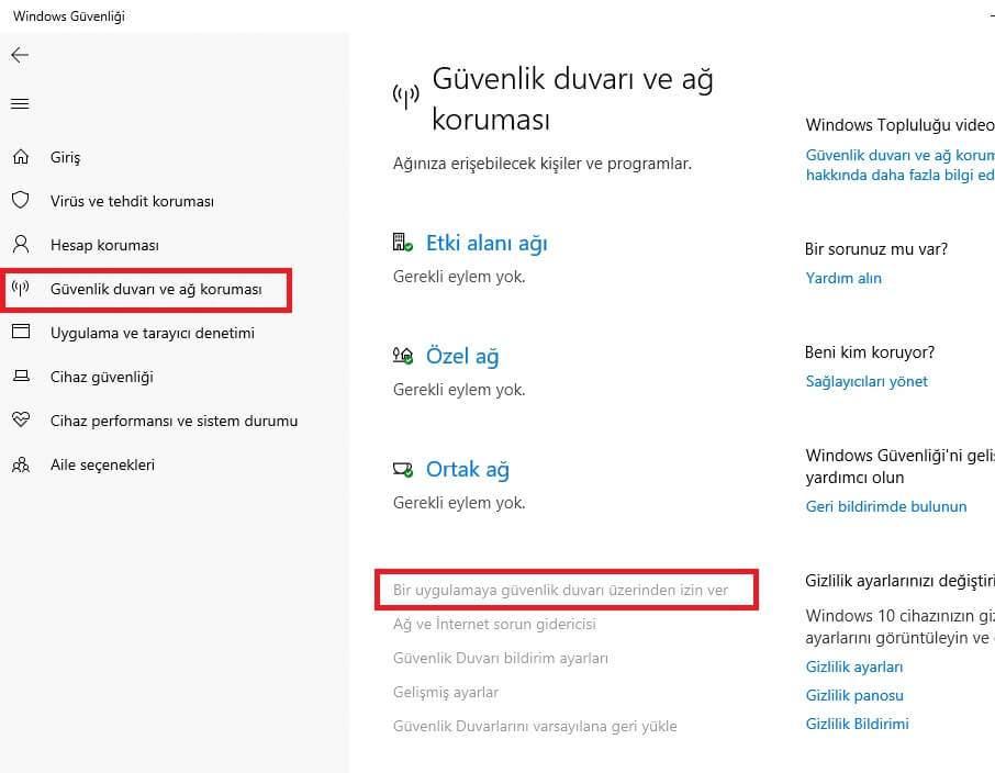 windows 10 guvenlik duvarinda programlara izin verme 2 Windows 10 Güvenlik Duvarında Programlara İzin Verme