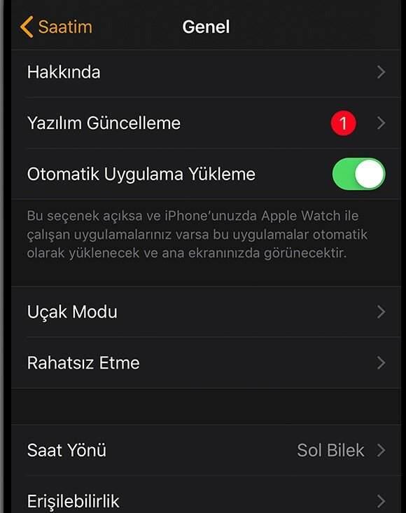 apple watch güncelleme denetleniyor