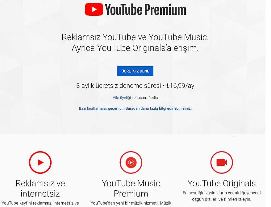 youtube premium fiyat