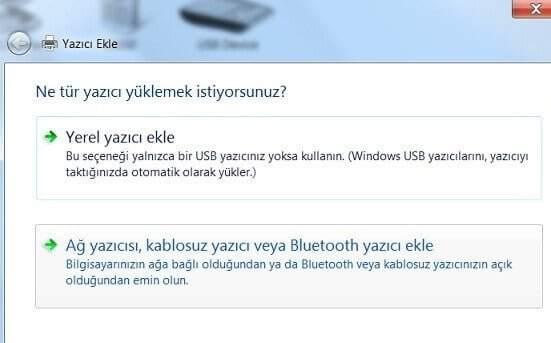 Windows Yazıcı Yükleme