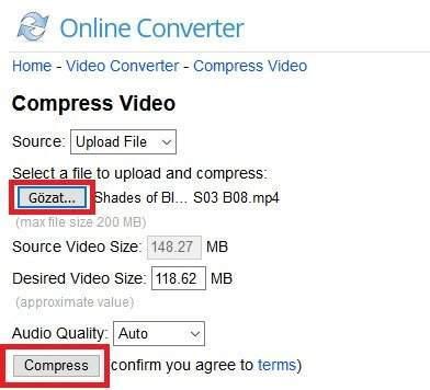 Programsız Video Boyutu Küçültme