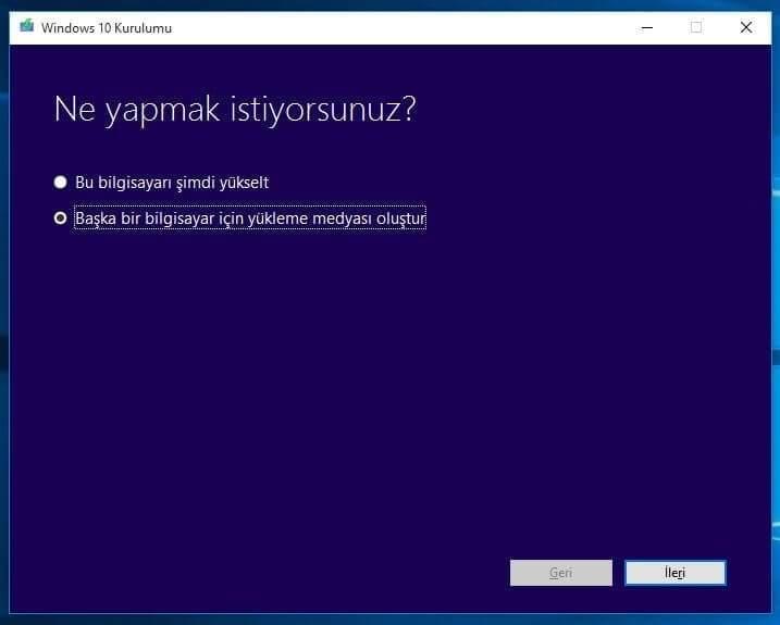Windows 10 yükleme USB'si oluşturma