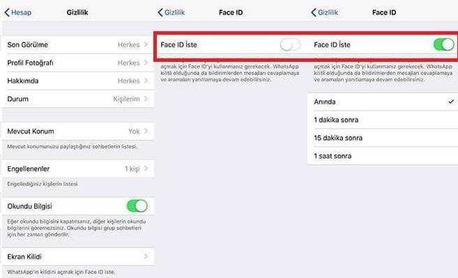 iPhone WhatsApp Parmak İzi Kilidi Etkinleştirme
