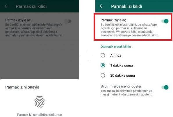 Android WhatsApp Parmak İzi Kilidi Etkinleştirme