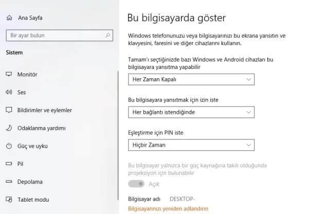 Bilgisayardan TV'ye Kablosuz Görüntü Aktarma