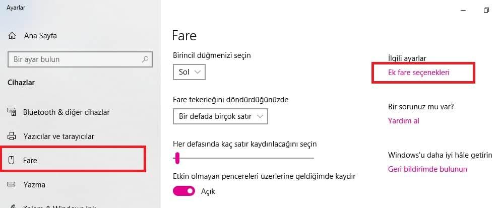 Windows 10'da Mouse hızı ayarlama
