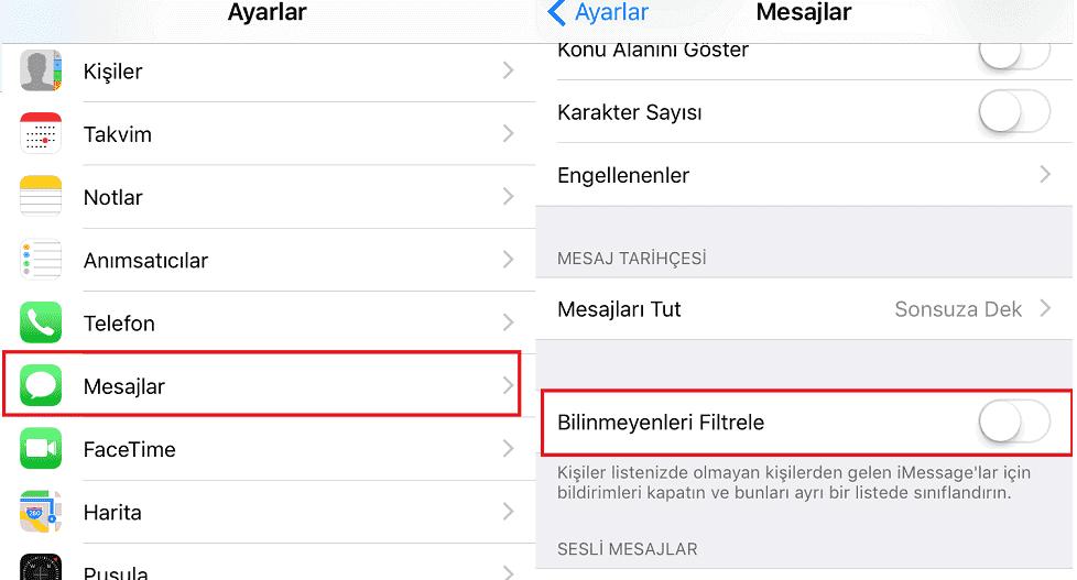 iPhone mesaj engelleme, iphone numarasız mesaj engelleme, iPhone engellenen mesajlar nasıl görünür