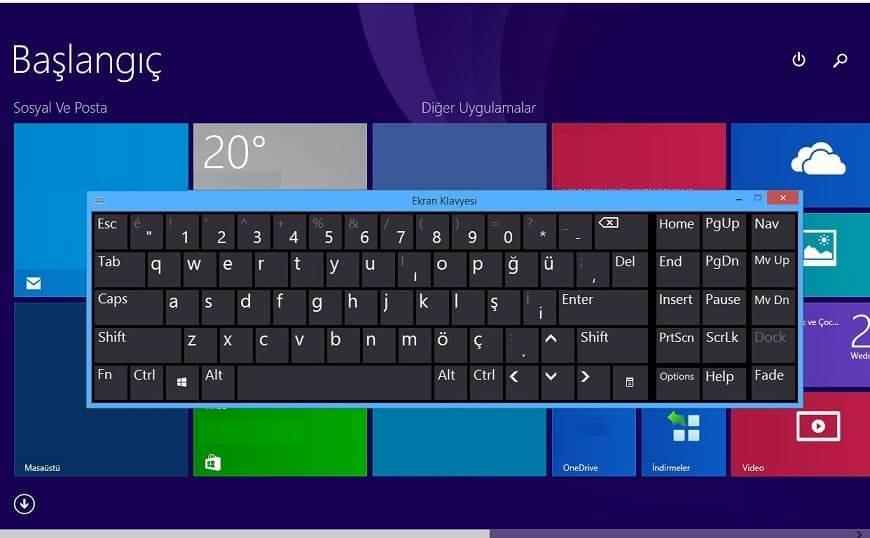 ekran klavyesi boyutunu değiştirme, ekran klavyesini açma, ekran klavyesi açma komutu, ekran klavyesi sabitleme