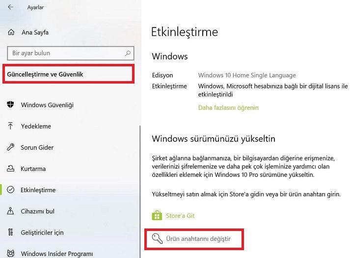 Windows 10 etkinleştirme,Windows 10 ürün anahtarı