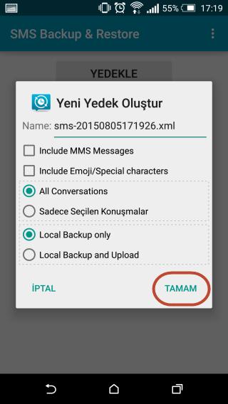 Android Telefonlarda SMS Yedekleme ve Geri Yükleme İşlemi
